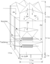 Cross-section of a wind tower with wetted surfaces, with a