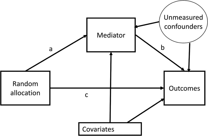 Mediation diagram showing the causal pathways between