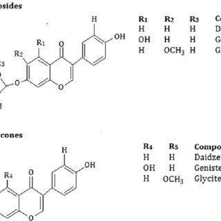 Chemical structure of glycosidic (a) and aglycone (b