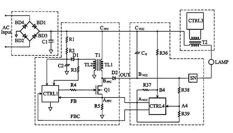 Electronic ballast driver for mercury vapor lamp
