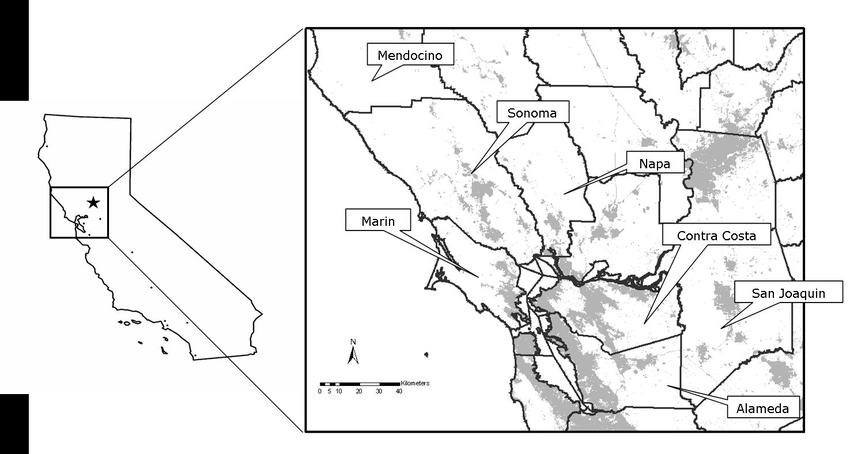 Map of San Francisco Bay study area. Gray areas represent