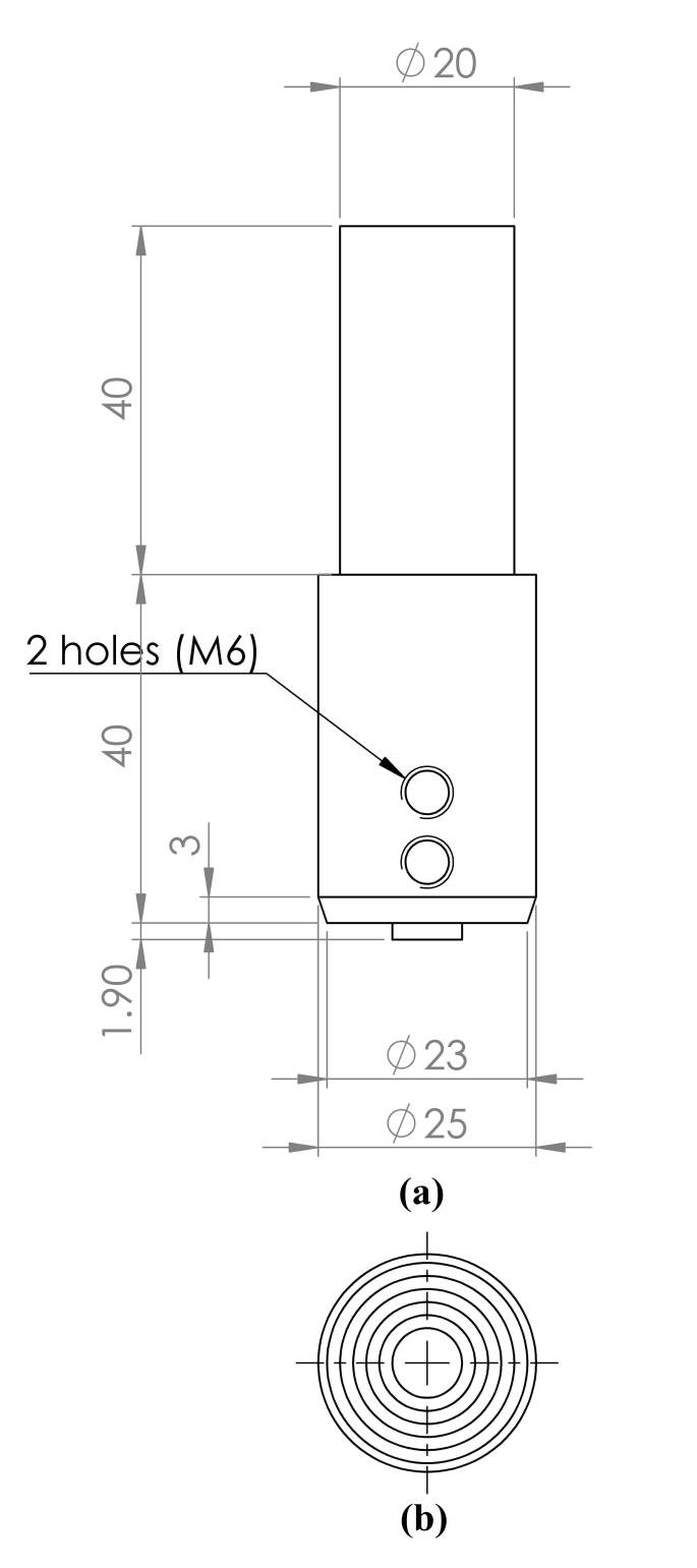 Schematic diagram of the FSDC tool (a) side view, (b