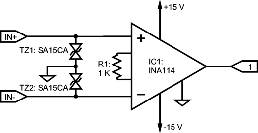 INA 114 instrumentation amplifier with ESD protection