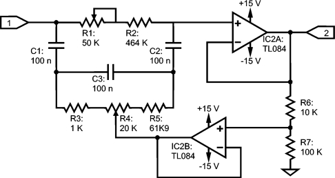 Trimmable bootstrapped twin-T as a notch filter for 50 Hz