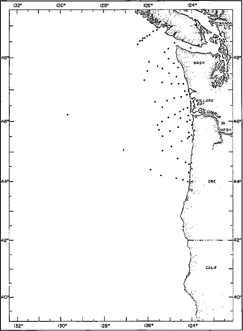 medium resolution of station locations for brown bear cruise 275 10 27 january 1961