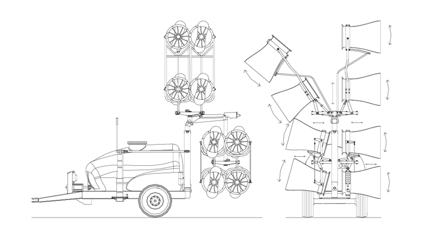 Schematic representation of the tower sprayer. Adapted