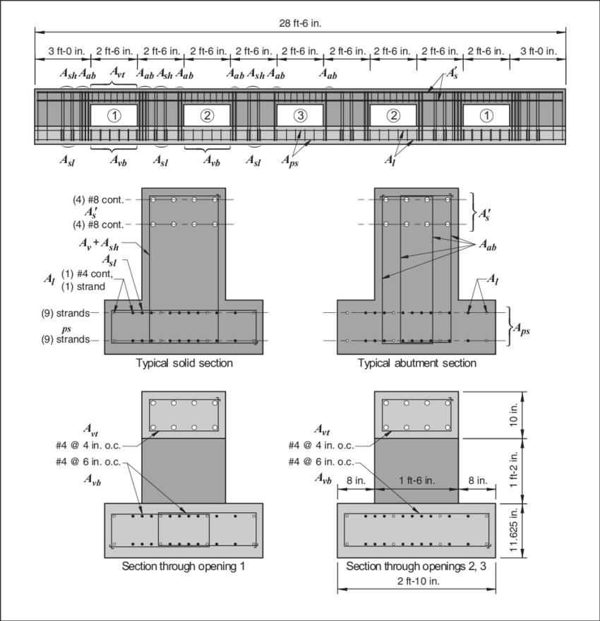 Prototype inverted-tee girder with multiple web openings