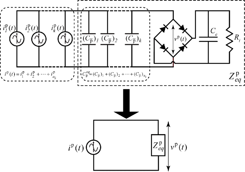 Electrical current model of the harvester: (a) connected