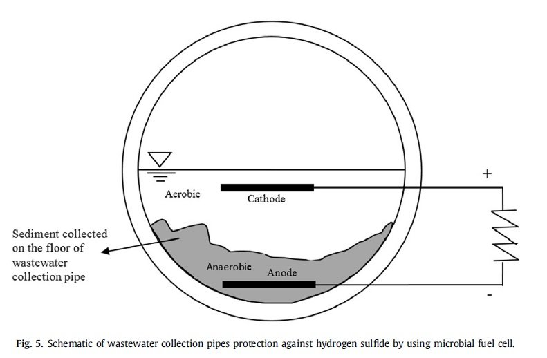 Schematic of wastewater collection pipes protection