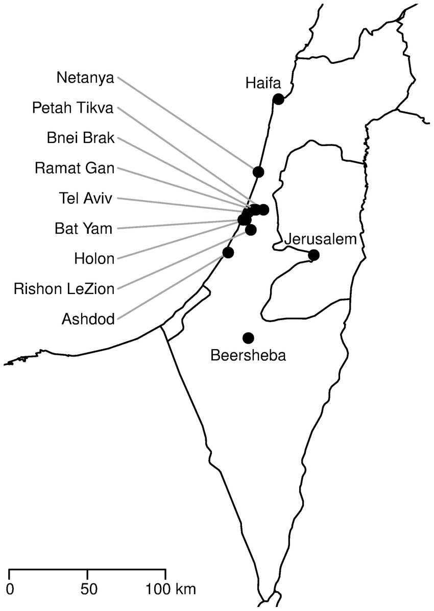 A map of Israel and the 12 cities analysed in this work