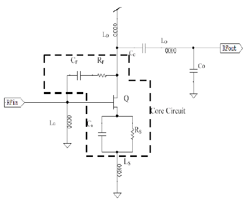 Circuit schematic of the PHEMT single-ended medium power