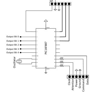 Circuit diagram of the PS2 controller to PIC