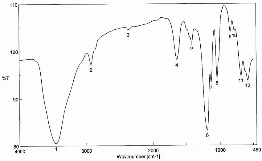 -FTIR spectra of ofFe NPs. Characteristics of Mn NPs