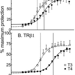 The ability of TR1 to respond to T 4 vs T 3 differs much