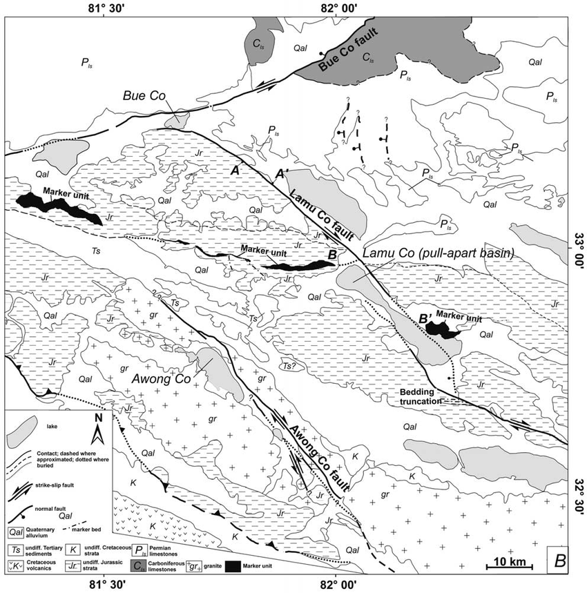 b. Simple line drawing of geologic relationships shown in