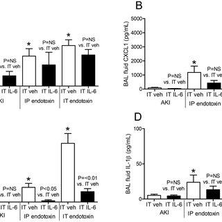 Serum proinflammatory cytokines (A) IL-6, (B) CXCL1, (C