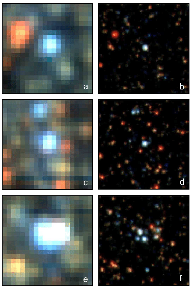 medium resolution of muse versus hst images of 4 4 arcsec 2 size from field i