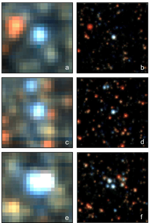 small resolution of muse versus hst images of 4 4 arcsec 2 size from field i