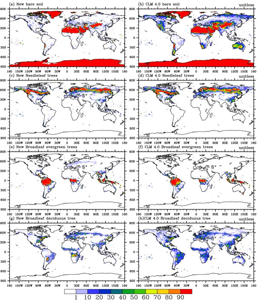 hight resolution of global distribution of bare soil needleleaf trees broadleaf evergreen download scientific diagram