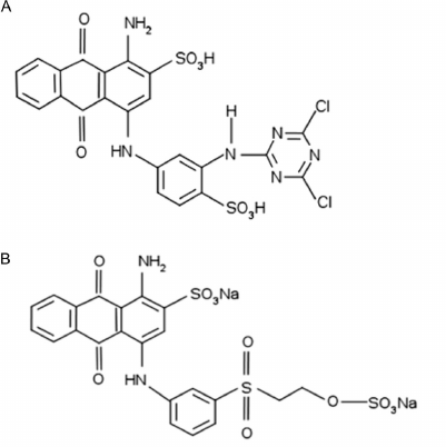 Molecular structure of the azo dyes Reactive Red 2 (A