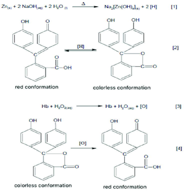Chemical reactions of the Kastle-Meyer test (SOURCE