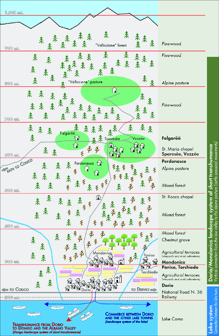 hight resolution of diagram of the historical structure of the dorio mondonico landscape system of short transhumance