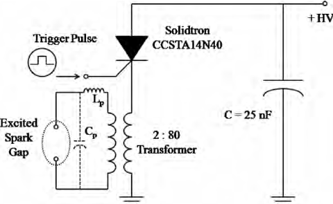 High voltage excitation circuit, with 2:80 transformer