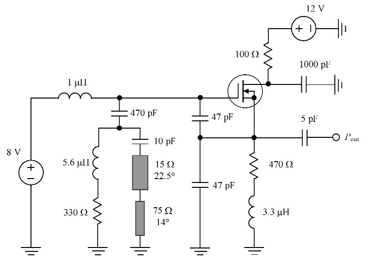 · Equivalent circuit of the MOSFET oscillator with two