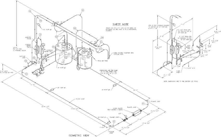 Schematic of Flow Loop Piping System with Major Dimensions