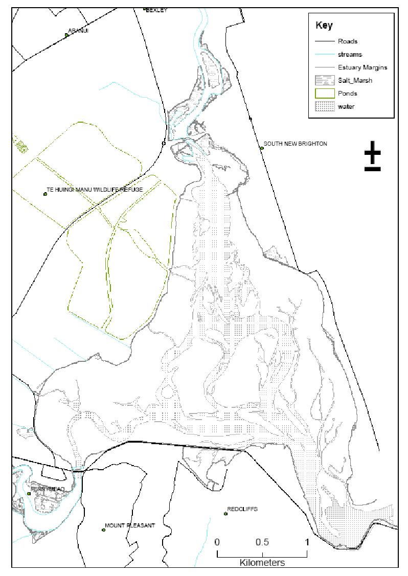 Map of Avon-Heathcote Estuary, Bromley Oxidation Ponds and