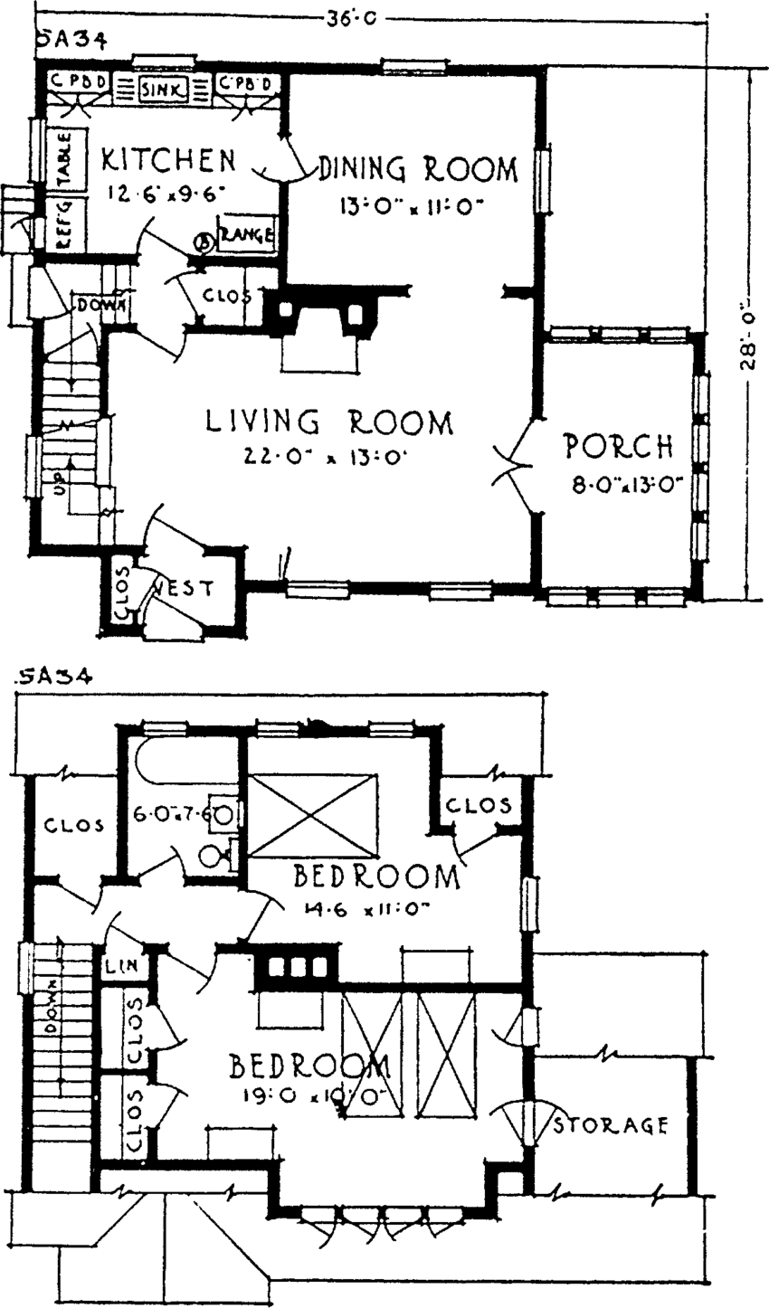 6 Plan for a suburban house from the 1920s; a modern