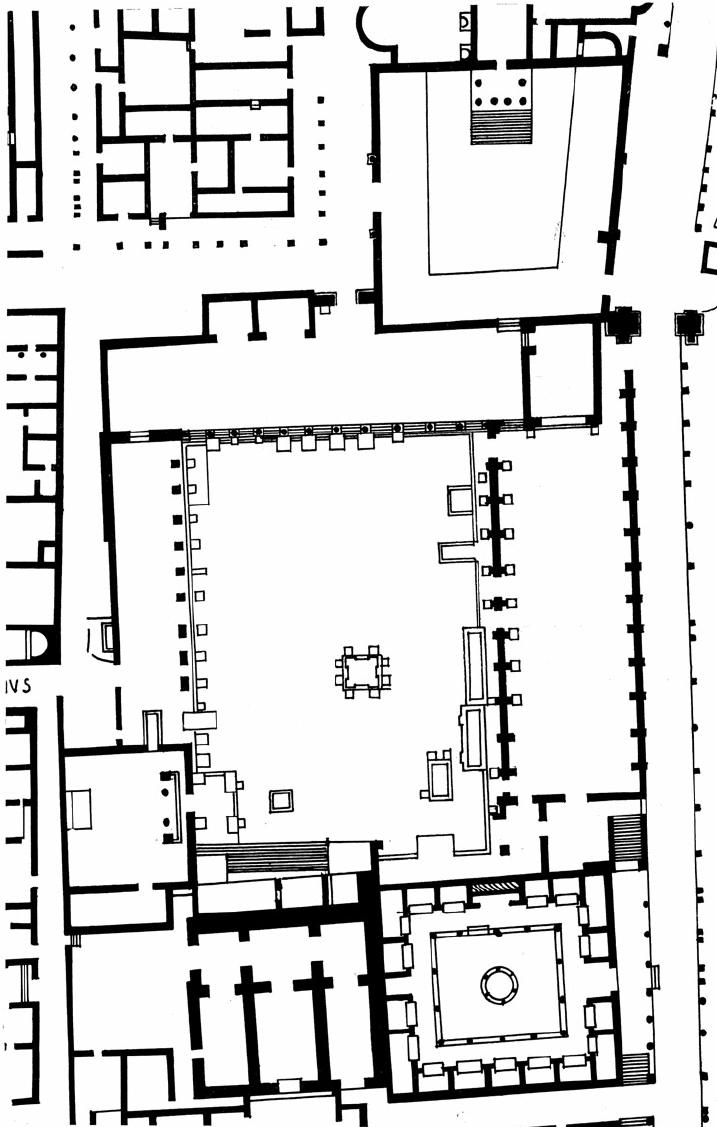 Cuicul: plan of the presumed Capitolium (bottom centre) in