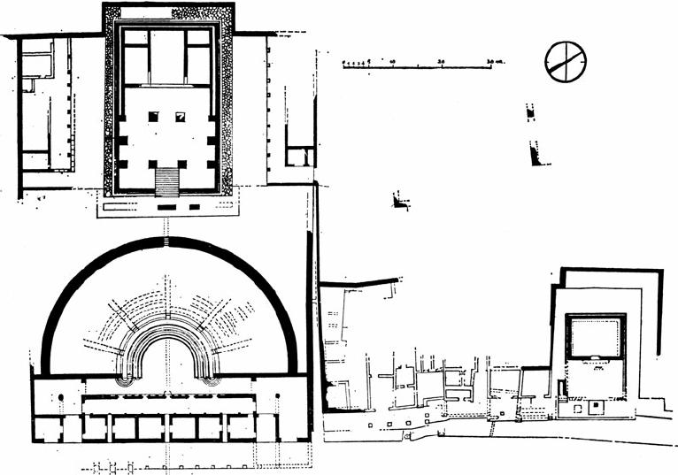 Pietrabbondante: plan of the temple with a triple cella