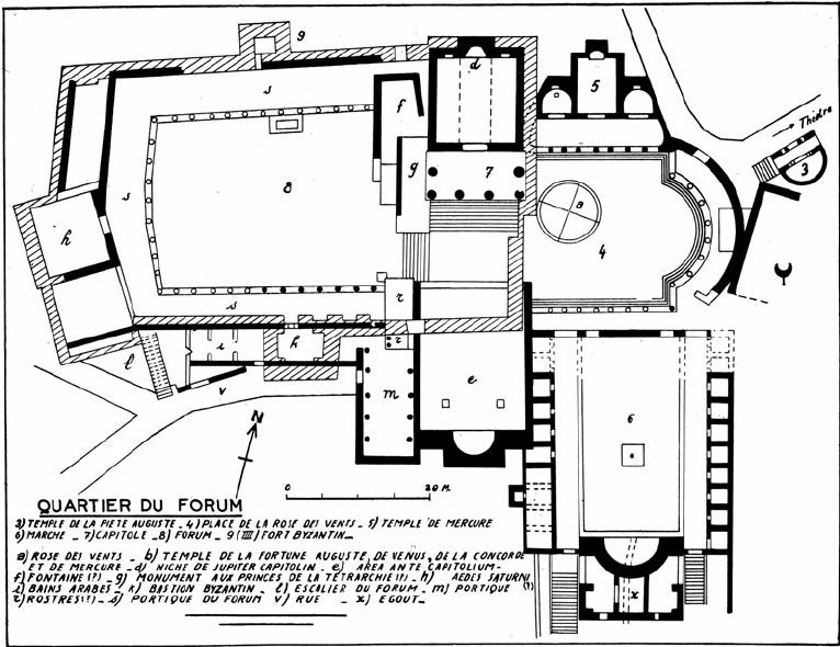 Dougga: plan of the forum and Capitolium (Poinssot, op