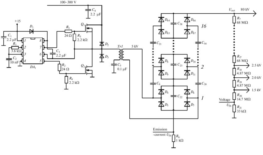 The circuit diagram of the resonant converter: (DA 1
