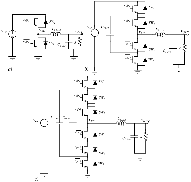Circuit diagrams of the a) buck (2-level), b) 3-level and