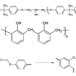 Chemical structure of epoxy resin (a), phenol-formaldehyde