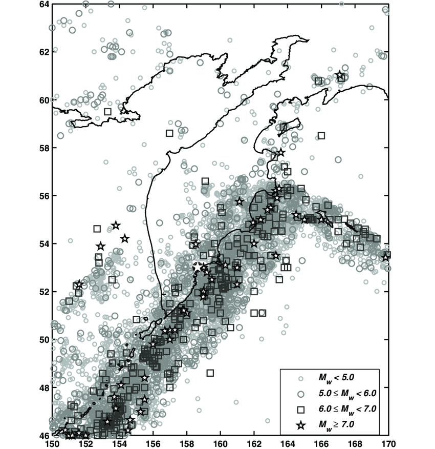 Location of epicentres at the Kamchatka Peninsula. White