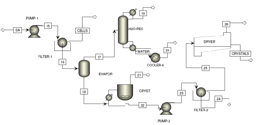 Flowsheet of the downstream process of succinic acid after