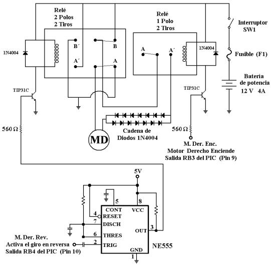 Diagrama eléctrico para energizar el motor derecho