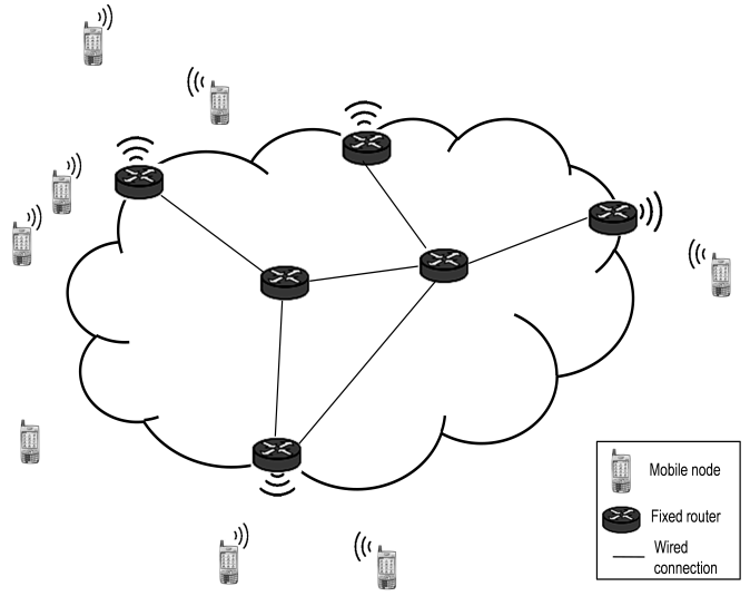 A general network model with fixed routers and mobile