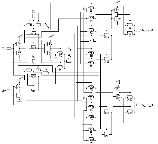 Fig 5: 2-Bit Comparator using Pass transistor logic style