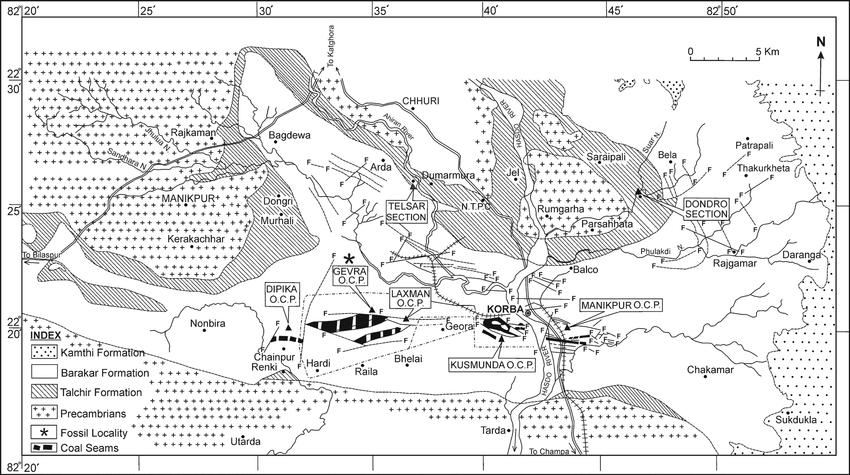 Geological map of Korba Coalfield, Chhattisgarh, showing