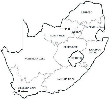 Map of South Africa, showing the localities of the two