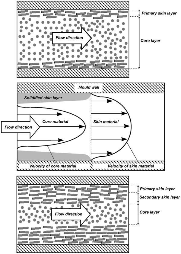 Schematic fiber layer structure of injection molded short