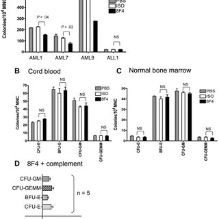 8F4 inhibits CFU-L from AML patients, but does not inhibit
