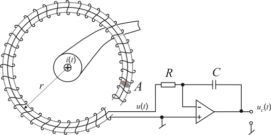 The measuring system with the Rogowski coil with an