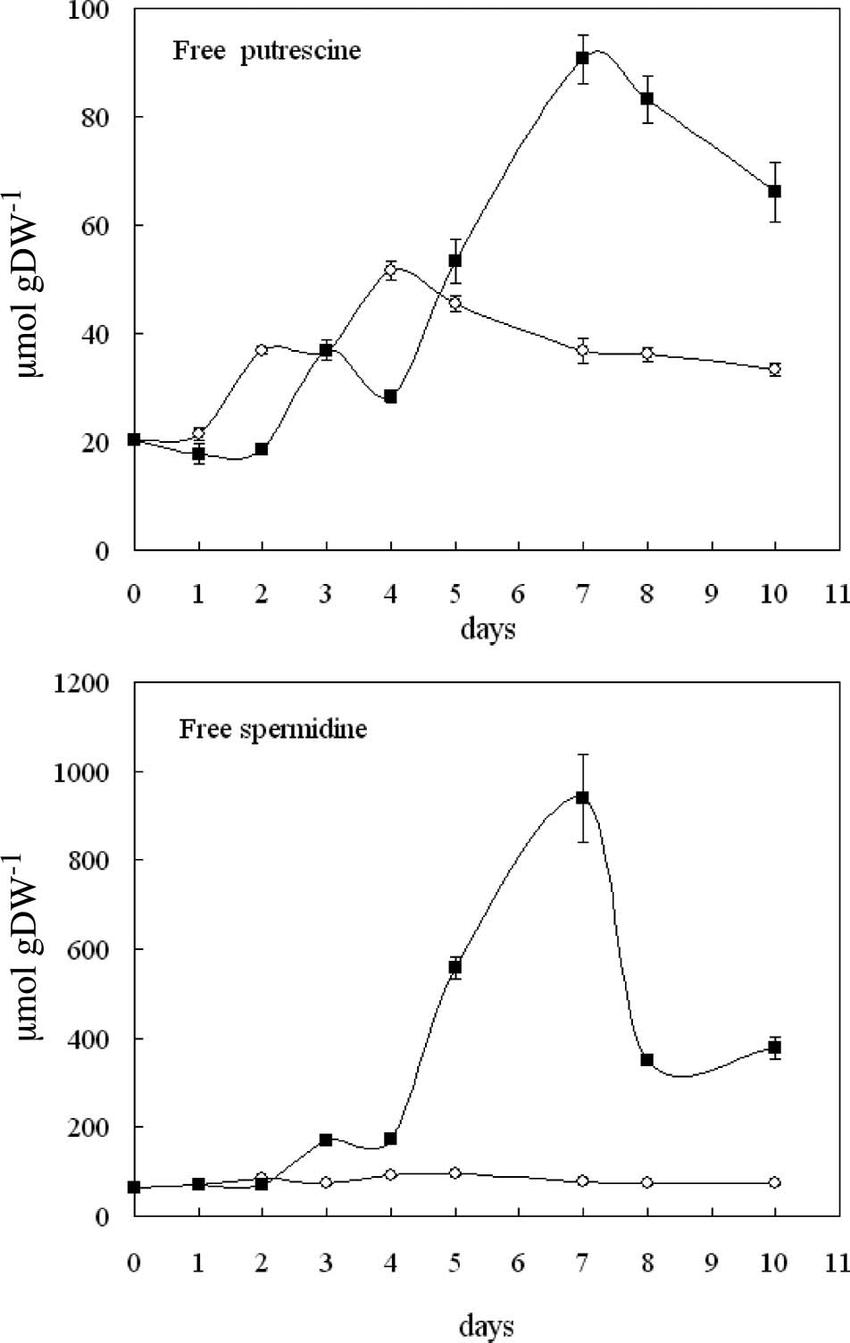 medium resolution of free putrescine and spermidine content in petals of control and 10 mm download scientific diagram