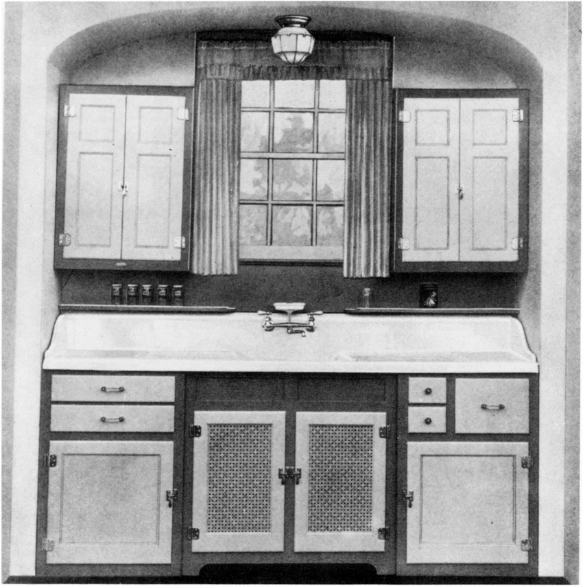 built in kitchen sink and cabinet