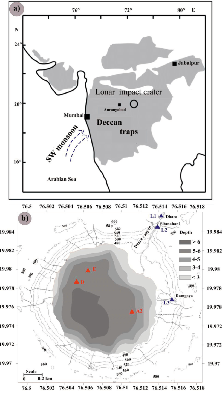 hight resolution of 1 a location of lonar impact crater on the 65 ma old deccan trap download scientific diagram